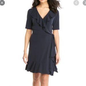 NWT Beautiful navy wrap dress